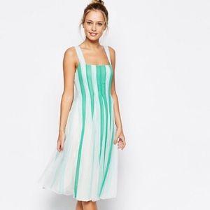 ASOS Chiffon Stripe Fit & Flare Midi Dress Size 4